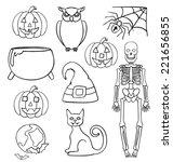 isolated halloween doodles | Shutterstock . vector #221656855