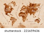 world map in old style  brown... | Shutterstock .eps vector #221659636