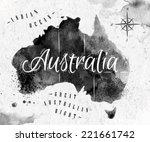 Ink Australia Map In Black And...