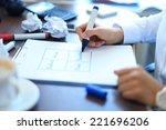 business woman writing blank... | Shutterstock . vector #221696206