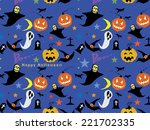 halloween seamless pattern... | Shutterstock .eps vector #221702335