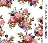 seamless floral pattern with... | Shutterstock . vector #221704612