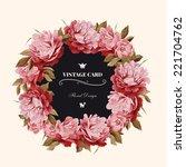 wreath of peonies   watercolor  ... | Shutterstock . vector #221704762