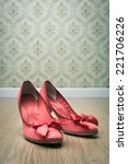 Vintage Red Dotted Female Shoe...