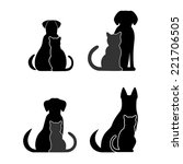 Stock photo silhouettes of pets cat dog 221706505