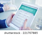applicant filling up the online ... | Shutterstock . vector #221707885