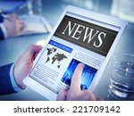 man reading the news on a... | Shutterstock . vector #221709142