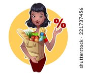 girl with paper bag products | Shutterstock .eps vector #221737456