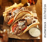 greek gyros with tzatziki sauce ...
