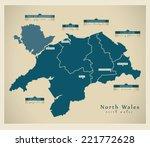 Modern Map   North Wales Uk