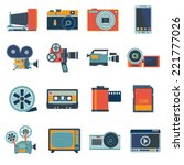 photo video camera and... | Shutterstock .eps vector #221777026