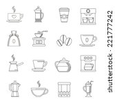 coffee outline icons set with... | Shutterstock .eps vector #221777242