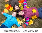 three happy kids lying together ... | Shutterstock . vector #221784712