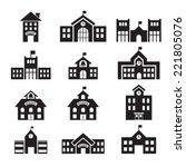 school building icon | Shutterstock .eps vector #221805076