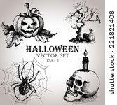 hand drawn vintage halloween... | Shutterstock .eps vector #221821408