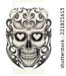 skull tattoo .hand drawing on...   Shutterstock . vector #221821615