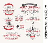 christmas decoration set of... | Shutterstock .eps vector #221861095