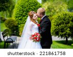 bride and groom kissing on the... | Shutterstock . vector #221861758