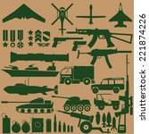 green military icons on brown... | Shutterstock .eps vector #221874226
