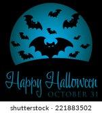 bat rising moon halloween card...   Shutterstock .eps vector #221883502