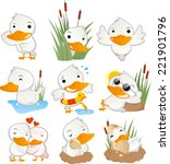 Cute Duck In Action Set...