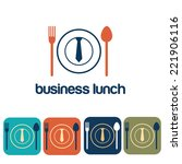 business lunch and icon set... | Shutterstock .eps vector #221906116