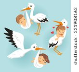 stork with baby vector cartoon... | Shutterstock .eps vector #221908162