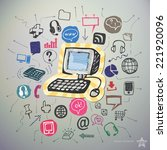 hand drawn social network icons ... | Shutterstock .eps vector #221920096