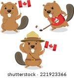 canadian beaver holding canada... | Shutterstock .eps vector #221923366