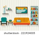living room with furniture and... | Shutterstock .eps vector #221924035