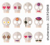 flat design style skull icon...