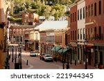 Blackhawk, Colorado - 9/28/2013 - view looking down the street lined with old western style casinos - stock photo