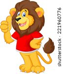 cute cartoon lion giving thumb... | Shutterstock .eps vector #221960776