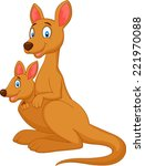 cartoon red kangaroo carrying a ... | Shutterstock .eps vector #221970088