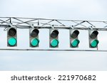 racing green traffic light on... | Shutterstock . vector #221970682