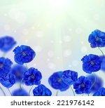 blue poppy flowers half frame...   Shutterstock . vector #221976142