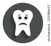 tooth sad face sign icon....