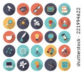 flat design icons for science... | Shutterstock .eps vector #221994622