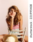 funny woman portrait on brown...   Shutterstock . vector #221995408