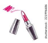 lipstick. watercolor beauty ... | Shutterstock .eps vector #221996686