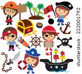 pirates kids clip art | Shutterstock .eps vector #222001792