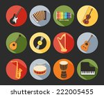 colored flat musical icons... | Shutterstock .eps vector #222005455
