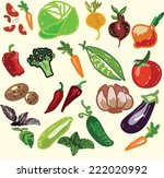 set of hand drawn vegetables | Shutterstock .eps vector #222020992