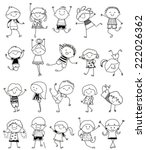group of kids drawing sketch | Shutterstock .eps vector #222026362