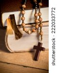 bible and old wooden rosary | Shutterstock . vector #222033772