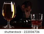 alcoholic in despair  smoker | Shutterstock . vector #222036736