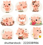 little pig cartoon action set ...