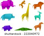 icon set of color origami... | Shutterstock .eps vector #222040972
