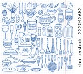 set of hand drawn cookware on... | Shutterstock .eps vector #222042682