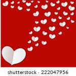 white heart on red screen... | Shutterstock .eps vector #222047956